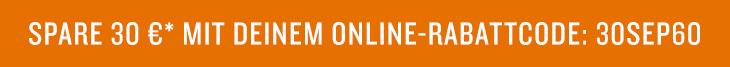 30 € Rabatt mit Deinem Online-Rabattcode: 30SEP60
